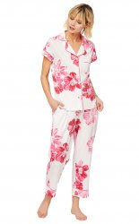 The Cat's Pajamas Women's Pink Bora Bora Pima Knit Capri Pajama Set