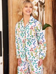 The Cat's Pajamas Women's Botanical Gardens Luxe Pima Classic Pajama Set