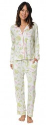 "The Cat's Pajamas Women's ""Butterfly Palm"" Cotton Knit Classic Pajama Set"