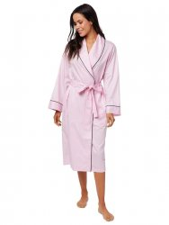 The Cat's Pajamas Women's Classic Pink Luxe Pima Shawl Collar Robe