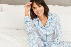 The Cat's Pajamas Women's Confetti Dot Pima Knit Classic Pajama Set in Blue
