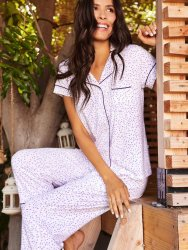 The Cat's Pajamas Women's Confetti Dot Pima Knit Capri Pajama Set in Lavender