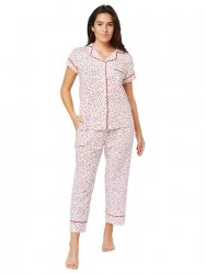 The Cat's Pajamas Women's Confetti Dot Pima Knit Capri Pajama Set in Red