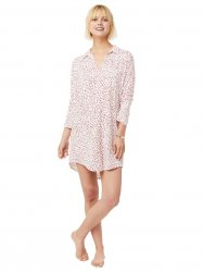 The Cat's Pajamas Women's Confetti Dot Pima Knit Classic Nightshirt in Red