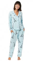 The Cat's Pajamas Women's Etched Eiffel Pima Knit Classic Pajama Set