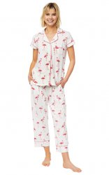 The Cat's Pajamas Women's Flamazing Pima Knit Capri Pajama Set