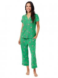 The Cat's Pajamas Women's Flamazing Pima Knit Capri Pajama Set in Emerald