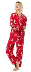 "The Cat's Pajamas Women's ""Haiku Kitty"" Classic Flannel Pajama Set in Red"