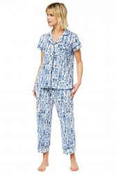 The Cat's Pajamas Women's Ikat Pima Knit Capri Pajama Set