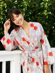 The Cat's Pajamas Women's Kiku Luxe Pima Cotton Kimono Robe