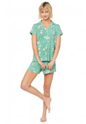 The Cat's Pajamas Women's Lazy Daisy Pima Knit Short Set