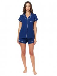 The Cat's Pajamas Women's Marine Blue Pima Knit Shorts Set