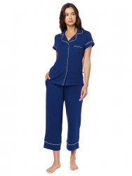 The Cat's Pajamas Women's Marine Blue Pima Knit Capri Pajama Set