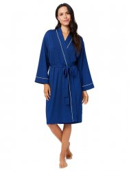 The Cat's Pajamas Women's Marine Blue Pima Knit Robe