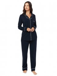The Cat's Pajamas Women's Midnight Moment Pima Knit Classic Pajama Set