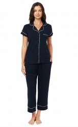 The Cat's Pajamas Women's Midnight Moment Pima Knit Capri Pajama Set