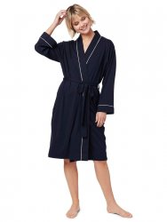 The Cat's Pajamas Women's Midnight Moment Pima Knit Robe