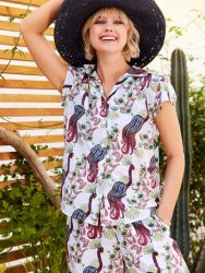 The Cat's Pajamas Women's Peacock Tropicale Luxe Pima Capri Pajama Set