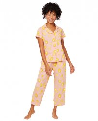 The Cat's Pajamas Women's Pink Lemonade Pima Knit Capri Pajama Set