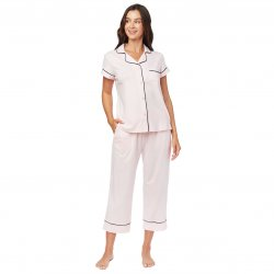 The Cat's Pajamas Women's Pink Moment Pima Knit Capri Pajama Set
