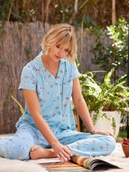 The Cat's Pajamas Women's Positano Pima Knit Capri Pajama Set