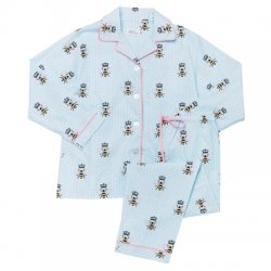 "The Cat's Pajamas Women's ""Queen Bee"" Flannel Classic Pajama Set in Blue"