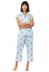 The Cat's Pajamas Women's Queen Bee Luxe Pima Capri Pajama Set in Blue