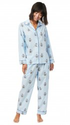 The Cat's Pajamas Women's Queen Bee Luxe Pima Classic Pajama Set in Blue