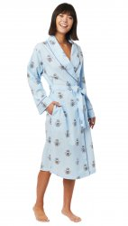 The Cat's Pajamas Women's Queen Bee Luxe Pima Shawl Collar Robe in Blue