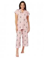 The Cat's Pajamas Women's Queen Bee Luxe Pima Capri Pajama Set in Pink