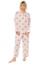 The Cat's Pajamas Women's Queen Bee Luxe Pima Classic Pajama Set in Pink