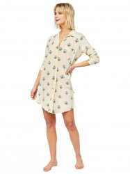The Cat's Pajamas Women's Queen Bee Pima Knit Classic Nightshirt in Honey