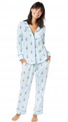 The Cat's Pajamas Women's Queen Bee Pima Knit Classic Pajama Set in Blue