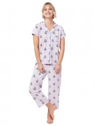 The Cat's Pajamas Women's Queen Bee Pima Knit Capri Set in Lavender