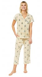 The Cat's Pajamas Women's Queen Bee Pima Knit Capri Pajama Set in Honey