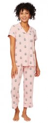 The Cat's Pajamas Women's Queen Bee Pima Knit Capri Pajama Set in Pink