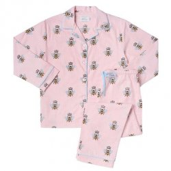 "The Cat's Pajamas Women's ""Queen Bee"" Flannel Classic Pajama Set in Pink"
