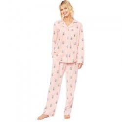 The Cat's Pajamas Women's Queen Bee Cotton Pima Knit Classic Pajama Set in Pink