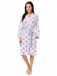 The Cat's Pajamas Women's Queen Bee Pima Knit Kimono Robe in Lavender