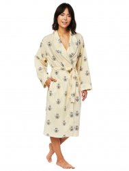 The Cat's Pajamas Women's Queen Bee Luxe Pima Shawl Collared Robe in Honey