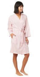 The Cat's Pajamas Women's Simple Stripe Luxe Pima Kimono Robe in Red