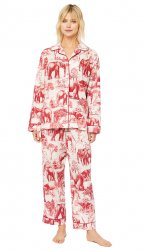 The Cat's Pajamas Women's Safari Toile Luxe Pima Classic Pajama Set in Red