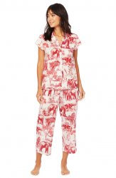The Cat's Pajamas Women's Safari Toile Luxe Pima Capri Pajama Set in Red