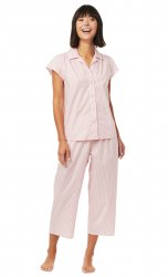 The Cat's Pajamas Women's Simple Stripe Luxe Pima Capri Pajama Set in Red