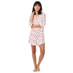 The Cat's Pajamas Women's Red Sprinkle Dots Pima Knit Classic Nightshirt