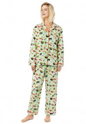 The Cat's Pajamas Women's Wasabi Sushi Poplin Cotton Pajama Set in Green