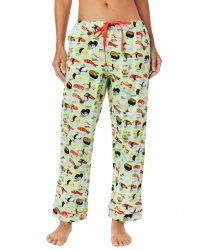 The Cat's Pajamas Women's Wasabi Sushi Flannel Pajama Pant in Green