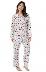 The Cat's Pajamas Women's Sushi Classic Poplin Cotton Pajama Set in White