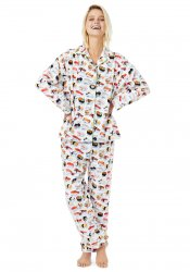 The Cat's Pajamas Women's Sushi Flannel Classic Pajama Set in White