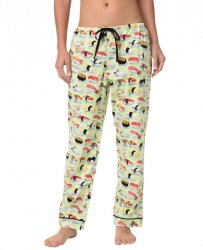 The Cat's Pajamas Women's Wasabi Sushi Poplin Cotton Pajama Pant in Green